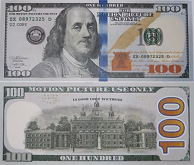 Motion Picture Prop Money $100 Dollar Bill Fake Funny Money Novelty Note