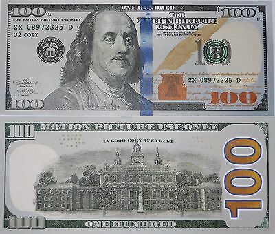 One (1) Motion Picture Prop Money $100 Dollar Bill Fake Funny Money Novelty Note
