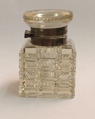 Antique Silver Plated, Decorative Cut Glass Inkwell