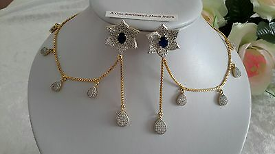 Cubic Zirconia Ad Cz Indian Earringd Gold Plated Wedding Fashion Jewellery