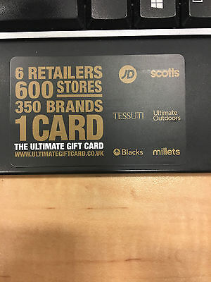 JD sports, scotts, TESSUTI, Ultimate Outdoors, Blacks & millets £50 gift voucher