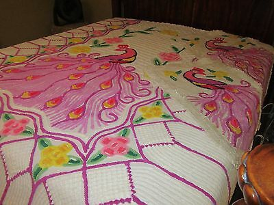Vtg Chenille Peacock Full-Size Bedspread w/2 Matching Chenille Throw Rugs - READ