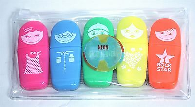 JL3 Kids Boys Girls 5 Pack Neon Highlighters Pens Creative Arts And Crafts