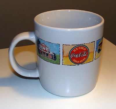 """Coca-Cola Coffee mug By Gibson - """"Good Ole Days"""" Pattern - White w/ Old Photos"""