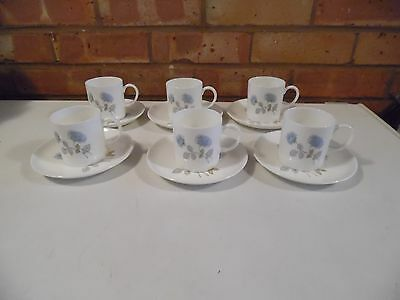 Wedgwood Set of Six Coffee Cups and Saucers - Ice Rose
