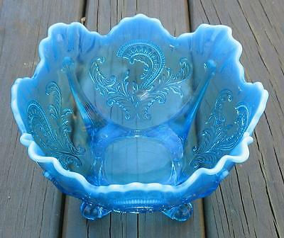 "Blue Opalescent Northwood ""inverted Fan & Feather"" Master Serving Bowl"