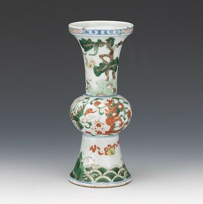 A Rare Chinese Qing Dynasty Wucai Glazed Vase, Marked.