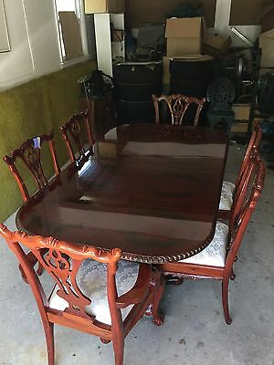 Chippendale Style Mahogany Dining Room Table Set 10 Chairs,