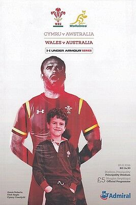 * WALES v AUSTRALIA - INTERNATIONAL RUGBY PROGRAMME (5th November 2016) *