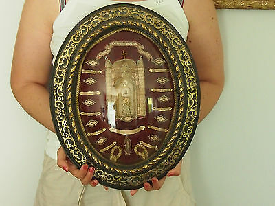 Ancient Reliquary 1891 Not Open , Relic Sainte Veronique + 10 Saints, 5 Wax Pads