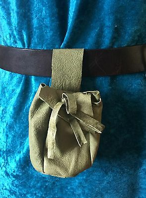 Green leather drawstring belt pouch coin purse mediaeval renactment LARP SCA