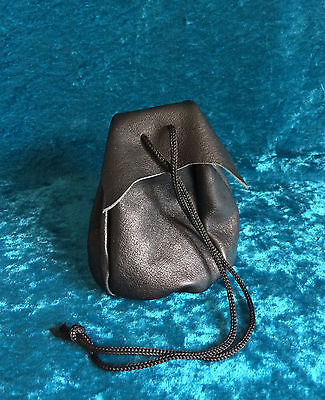 Black leather drawstring pouch coin purse mediaeval renactment LARP SCA gift B