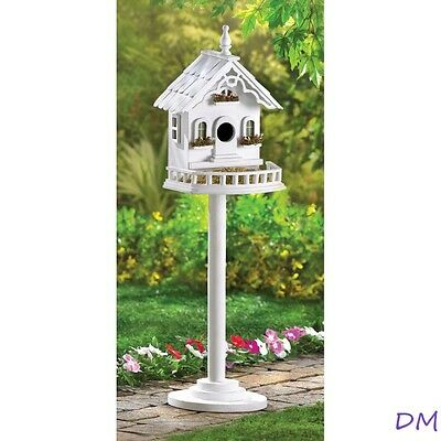 Freestanding White Victorian Birdhouse & Feeder Mounted on Stand