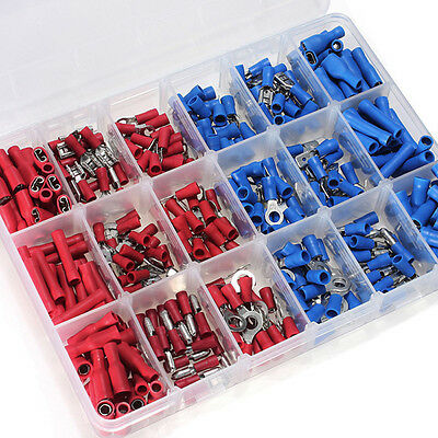 360Pcs Assorted Electrical Wire Terminals Set Insulated Crimp Connector Case Kit