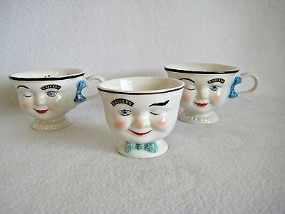 2 Vintage Baileys Cream Winking Face Cups & Sugar Bowl 1996 Limited Edition