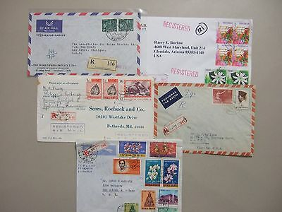 Five Asia-Indonesia registered covers:Orchids set,block of four,'50,60