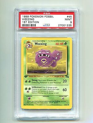 PSA 9 Pokemon Fossil 1st Edition- Weezing Non-Holo 45/62 - MINT