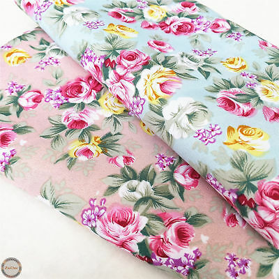 Shabby Chic Rose Floral Printed Prints Fabric Vintage Cotton Like Vintage Craft