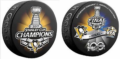 2017 Stanley Cup Final Dueling Team Puck& Pittsburgh Penguins Champions Set Of 2