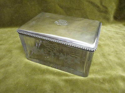 late 19th c french crystal sterling silver biscuit tin Louis XVI st Boin Taburet