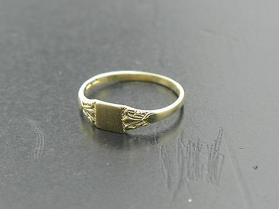 10k Yellow Gold Baby Ring Signet Size 1