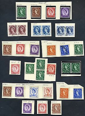 1955-1959 Great Britain Stamps Lot of 27, Scott's 317C-360A