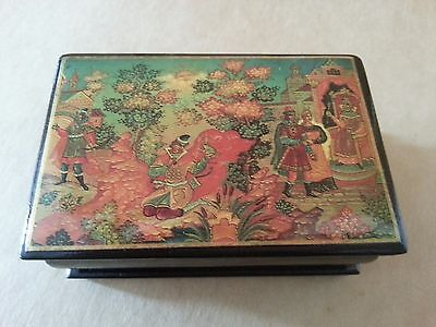 Russian Fairy Folk Tale Papier Mache Lacquer Trinket Jewellery Box Princess Frog