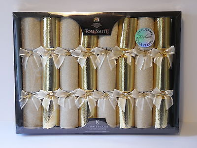 Tom Smith,8 Luxury Gold Crackers With Silver Plated Gifts.