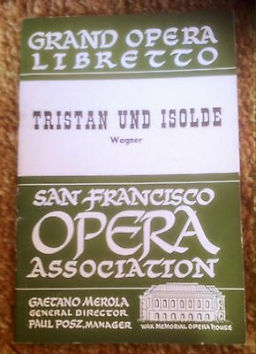 San Francisco Opera / Wagner TRISTAN & ISOLDE libretto program 1953 43 pages