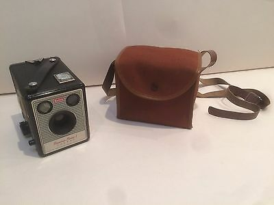 Vintage Kodak Brownie Model 1 Box Camera With Case - Made In England - Rare