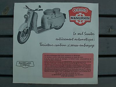 Scooter MANURHIN flyer pub catalogue prospectus d'époque 1957 état neuf photo NB
