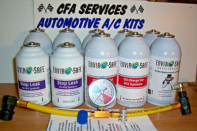 R12 COMPATIBLE REFRIGERANT 12a  10 CAN RECHARGE KIT OIL-STOPLEAK/1994-OLDER CARS