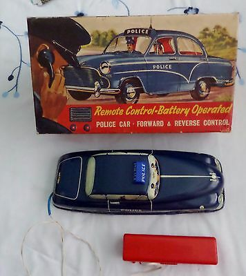 VINTAGE WELSOTOYS  1950s REMOTE CONTROL TINPLATE POLICE CAR - IN BOX
