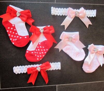 Baby Girls Soft Touch Bow Socks & Headband Set Pink / Red Newborn - 6 Month