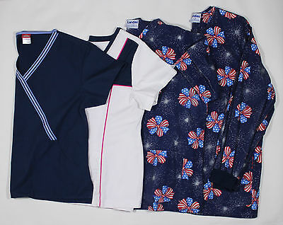 Scrubs lot of 4, Jacket, Tops and Pants 4th of July EUC FREE Shipping Large
