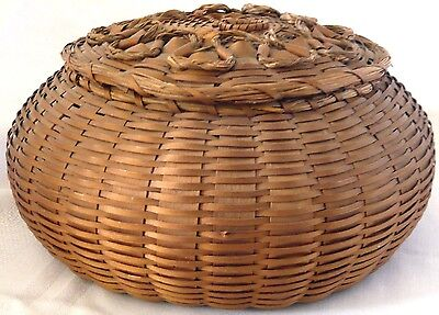 "Antique AMERICAN INDIAN Split Ash and Sweet Grass ""Sea Urchin"" Basket Maine, USA"