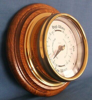 Tabic Brass Marine Tide Clock Oak Mount Marine Nautical