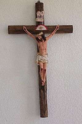 Crucifix Holy Jesus Realistic Divine Statue Large Church Wall Wood Cross