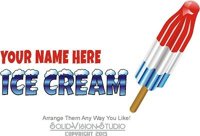 """28"""" Custom Ice Cream """"Your Name Here"""" Concession Trailer Food Truck Sign Decal"""
