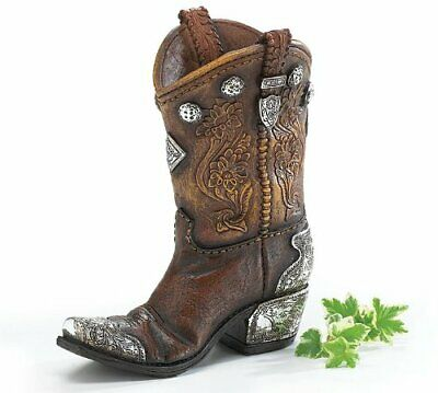 Boots And Spurs Western Cowboy Boot Vase For Western Home Decor [Kitchen]