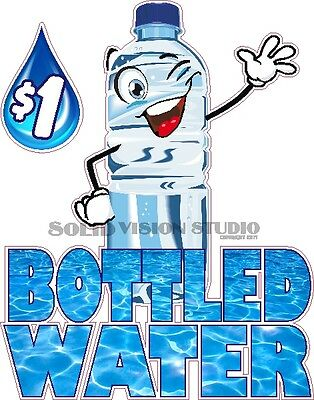 """14"""" Bottled Water Concession Trailer Food Truck Cold Drink Sign Sticker Decal"""