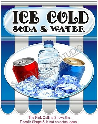 """14"""" Ice Cold Soda & Water Decal * Concession Trailer Food Truck Restaurant Sign"""