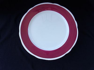 6 Vtg National Store Fixture Co JACKSON CHINA Restaurant Ware Maroon Band Plates