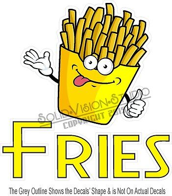 """11"""" French Fries Fry Decal Food Truck Concession Trailer Restaurant VInyl Sign"""