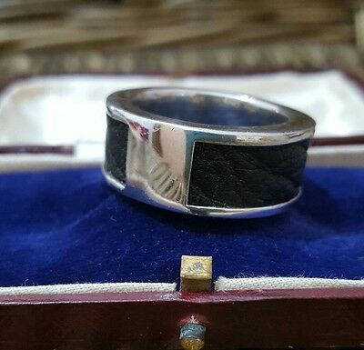 925 Sterling Silver Men's Ring/band, Leather Inlay, Size W To X, Heavy, Hallmark