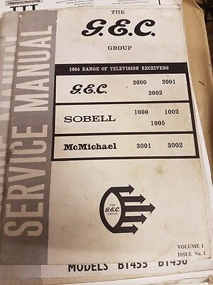 service manual for various models gec,sobell and mcmicheal