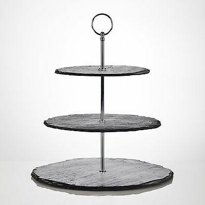 Slate 3 Tier Cake Stand Catering Cupcake Display Plate Afternoon Tea Service