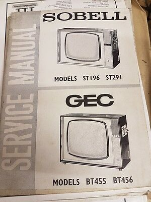 service manual for sobell st196,st291 and gec bt455,bt456