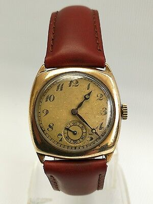 Vtg 1931 Art Deco Terminus Swiss Wristwatch in Zenith Watch Co 9ct Gold Case