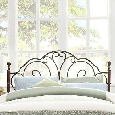 Lacy Iron Metal Scroll Headboard King Size Cherry/Bronze Antique Victorian